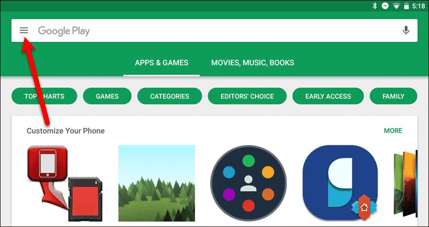 configurar atualizações do Google Play