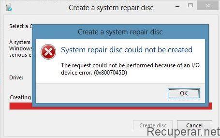 erro 0x8007045d copiar arquivo